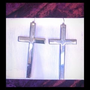 Jewelry - Long silver cross ☦️ earring just received ❤️♥️